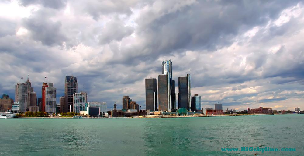 Detroit Skyline In Michigan